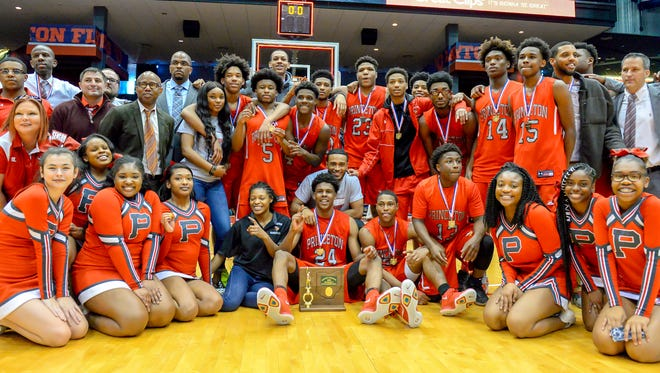 Princeton celebrates after beating East in the OHSAA District Final, UD Arena, Saturday March 10, 2018