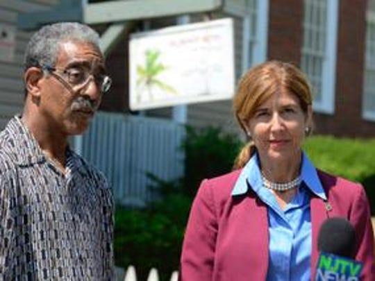 New Jersey State Senators Ron Rice (left) and Jen Beck (right) are shown during a press conference outside the Del Monte Motel at 302 First Ave. in Asbury Park on Tuesday.