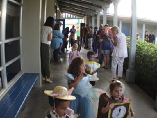 Pre-K3 and Pre-K4 students participating in the parade