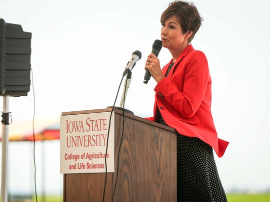Gov. Kim Reynolds speaks during her weekly news conference Tuesday, May 29, 2018, at Iowa State University's BioCentury Research Farm near Boone, Iowa.