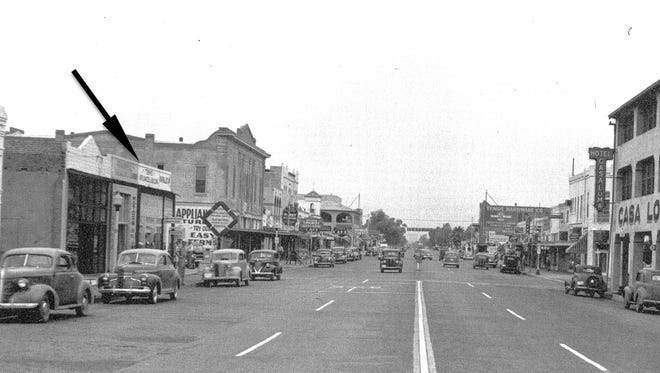 A 1947 street level view shows, at arrow, the 1909 home of the short-lived Midway Theater that after its debut in May 1909 closed just 9 days later.