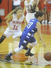 Norfork's Makayla Irby, left, defends Cotter's Hanny Garay during the Lady Panthers' 45-23 victory on Tuesday night.