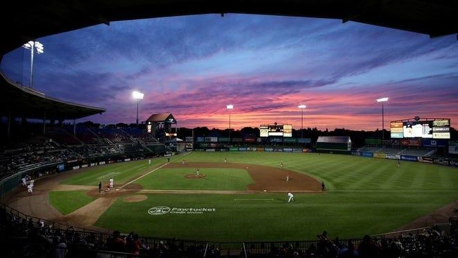 The sun sets on McCoy Stadium on May 23, 2017.
