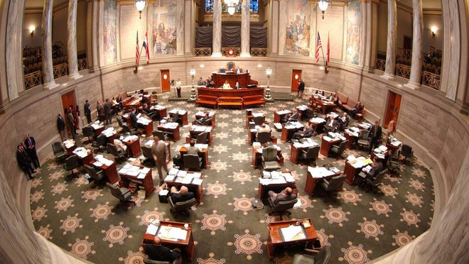 A view of the Missouri Senate chamber from the visitors gallery.