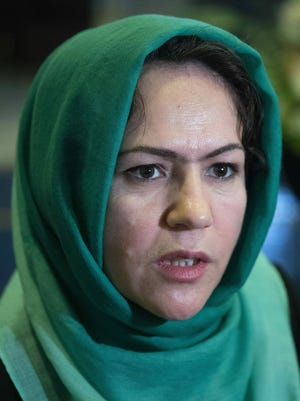 "In this 2019 file photo, Afghan politician Fawzia Koofi speaks to media before the ""intra-Afghan"" talks in Moscow."