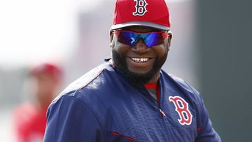 Red Sox designated hitter David Ortiz smiles during spring training Feb. 24, 2016 at JetBlue Park in Fort Myers, Fla. Wednesday marked the first full-squad workout for the Boston Red Sox. (Corey Perrine/Staff)
