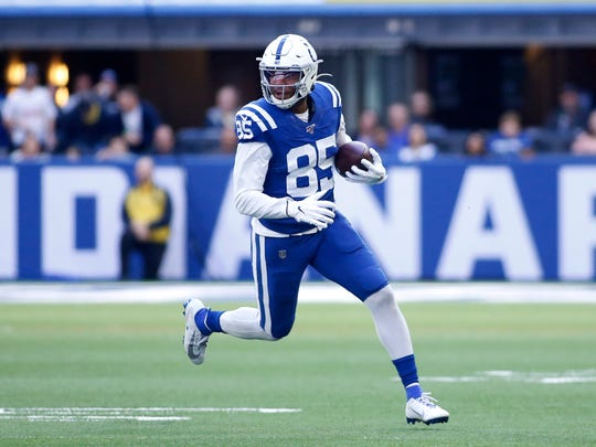 Eric Ebron of the Indianapolis Colts runs the ball after a catch in the game against the Denver Broncos during the third quarter at Lucas Oil Stadium on Oct. 27, 2019 in Indianapolis, Indiana. (Photo by Justin Casterline/Getty Images)