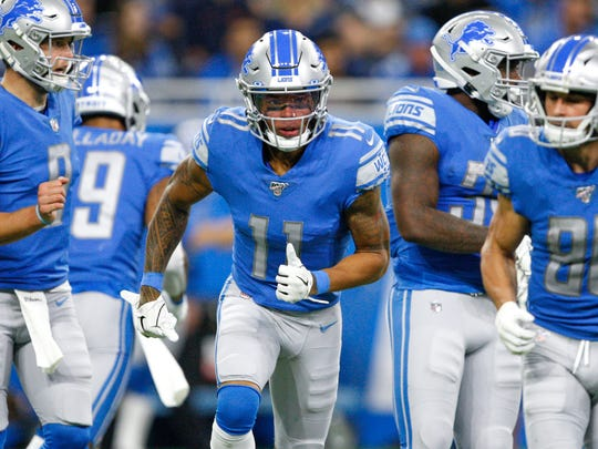 Oct 27, 2019; Detroit, MI, USA; Detroit Lions wide receiver Marvin Jones (11) runs to the line of scrimmage during the first quarter against the New York Giants at Ford Field. Mandatory Credit: Raj Mehta-USA TODAY Sports