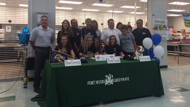 Kendall Brent, Alex Griffith and Taylor Kent signed with colleges during the NLI early period on Monday inside Fort Myers.