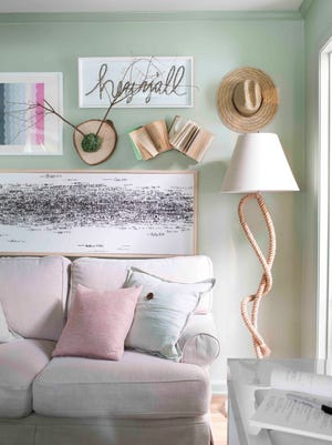 This living room is built on a palette of soft pastels and neutrals, but not all comfortable rooms must be.