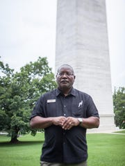 Ron Sydnor, Manager of the Jefferson Davis park, at the base of the monument.