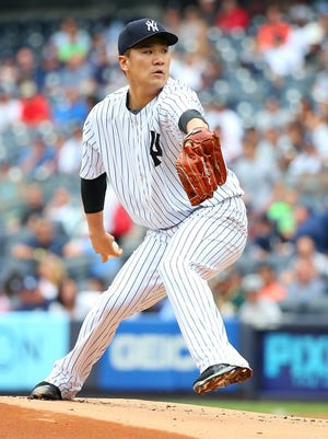 Masahiro Tanaka, shown here pitching against the Oakland Athletics at Yankee Stadium on July 9, will start the Yankees' first game after the All-Star break.