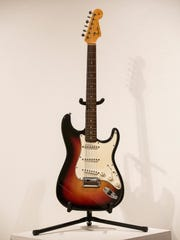 "The Fender Stratocaster electric guitar played by Bob Dylan on July 25, 1965, at Newport Folk Festival, better known as ""the night Dyan went electric."""