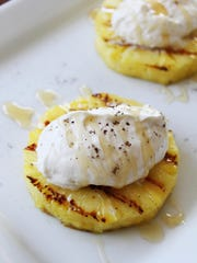 Grilled Pineapple with Honey Whipped Marscapone Cream