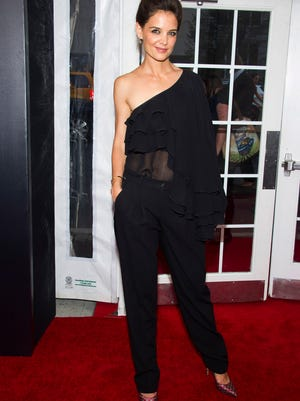 Katie Holmes attends the premiere of Lexus Short Films on Wednesday, August 6, 2014 in New York. (Photo by Charles Sykes/Invision/AP) ORG XMIT: NYCS101