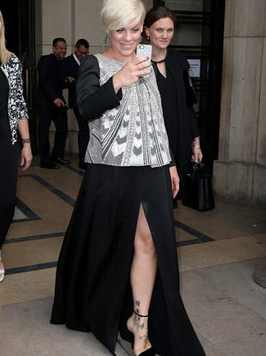 Pink attends the Giorgio Armani Prive show in Paris on July 8 during Paris Fashion Week.
