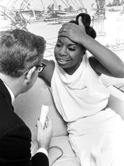 """Nina Simone is seen in the documentary """"What Happened Miss Simone?"""" The Oscar-nominated film is available on Netflix."""