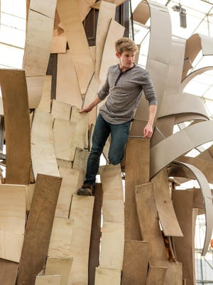 "Andrew Keenan-Bolger tries out a set being built in New Windsor, N.Y., for Broadway's ""Tuck Everlasting."" The actor plays Jesse Tuck."