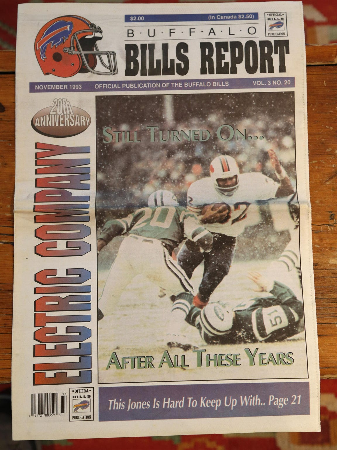 "The ""Buffalo Bills Report"" in December 1993 celebrates the 20th anniversary of O.J. Simpson's 2,000-yard season. It also included the infamous photo of Simpson wearing a pair of Bruno Magli shoes."