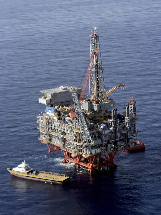 An offshore oil rig in the Gulf of Mexico in 2005.