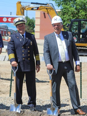 Streetsboro Fire Chief Robert Reinholz and Mayor Glenn Broska at the groundbreaking ceremony for the new Streetsboro Fire Station.