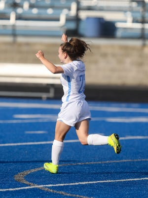 Alliance sophomore Rylee Horning celebrates after scoring the game's only goal in the first half.