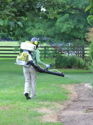 A technician at Mosquito Squad of North Columbus applies a mosquito barrier spray to a backyard in Columbus.
