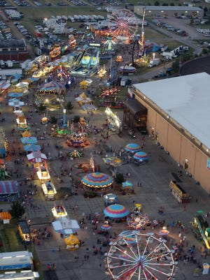 A file photo of the Midway at the Kansas State Fair.