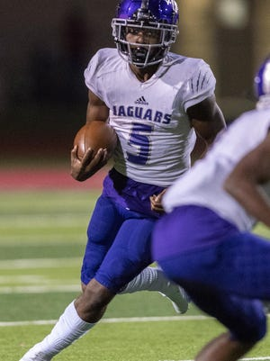 LBJ's Daqwon Donaldson, looking for more yards against Manor earlier in the season, rushed for 159 yards and two touchdowns on 20 carries in the Jaguars' 38-24 win over Corpus Christi Calallen on Friday.