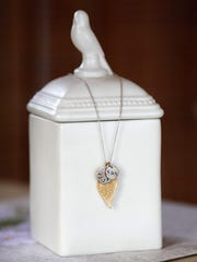 Stylemaker Alex McCullum - The wedding day necklace given to her as a gift from her husband with the date and their initials.  June 11, 2014