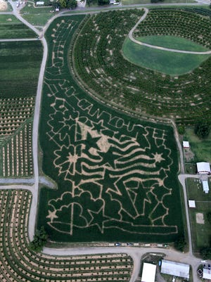 "An overhead view of the 2014 Alstede Farm Corn Maze, inspired by the nation's bicentennial celebration of ""The Star-Spangled Banner."""