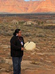 Mark Rogers of the Shivwits Band of Paiutes performs some traditional songs on the Tempi'po'op Trail near Ivins.