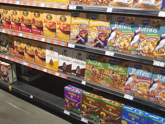 Part of the cereal shelf at a Whole Foods store in the Playa Vista section of Los Angeles was conspicuously empty Tuesday night.  Photo by Chris Woodyard, USA TODAY