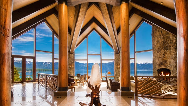 The soaring main residence of Crystal Pointe, a Crystal Bay estate that's currently (July 2017) the most expensive residential lakefront property ever offered for sale at Lake Tahoe.