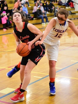 Churchill's Colleen McGowan eyes the basket during Wednesday's victory over Garden City.
