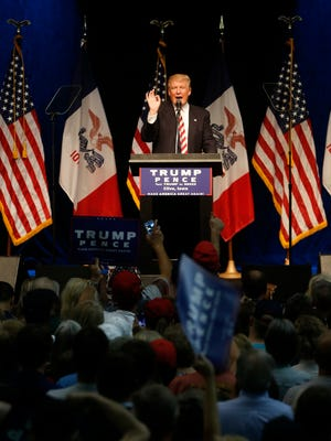 Republican presidential candidate Donald Trump speaks Tuesday, Sept. 13, 2016 at a rally at the 7 Flags Events Center in Clive, Iowa.
