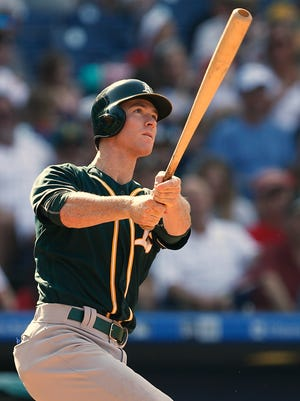 The Athletics' Joey Wendle hits a grand slam against the Philadelphia Phillies during the sixth inning Sept. 17 at Citizens Bank Park.