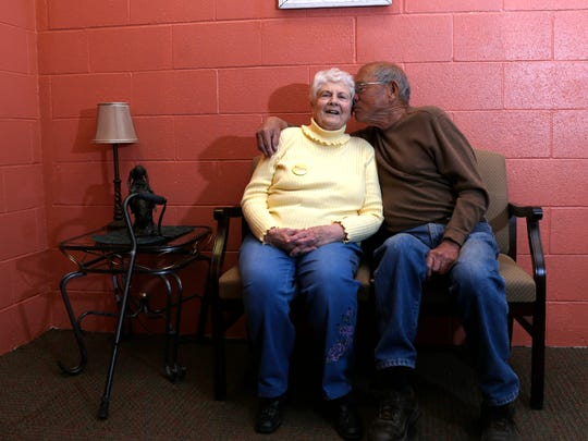 Gerry and Les Don pose for a portrait on Wednesday at the Aztec Senior-Community Center.