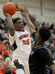 Burkburnett's Kendarius Horton looks for two  Friday,