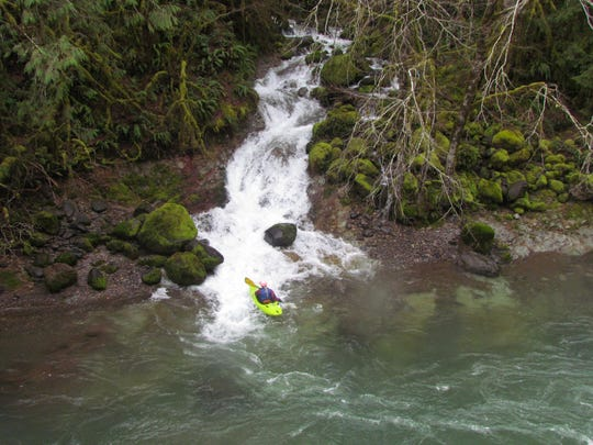 Laurie Pavey paddles below Boulder Creek, which dumps into the upper South Santiam River, near Fernview Campground.