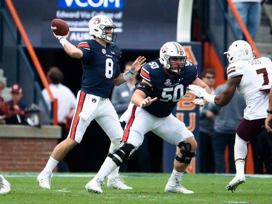 Auburn quarterback Jarrett Stidham (8) throws a pass during the NCAA football game between Auburn and Louisiana Monroe on Saturday, Nov. 18, 2017, in Auburn, Ala.