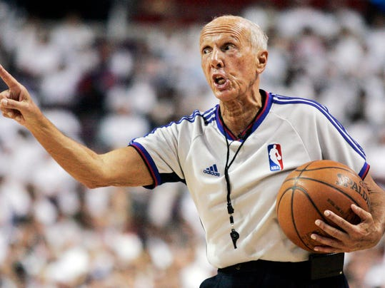 FILE - In this May 24, 2008, file photo, NBA referee Dick Bavetta gestures during the second quarter of Game 3 of the NBA basketball Eastern Conference finals between the Boston Celtics and the Detroit Pistons in Auburn Hills, Mich. Bavetta, 74, tells The Associated Press that it is the right time to leave the game after a 39-year career. (AP Photo/Duane Burleson, File)