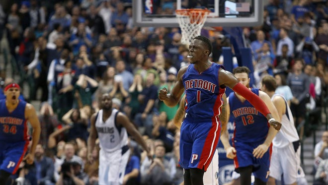 The Detroit Pistons' Reggie Jackson (1) reacts to his 3-pointer with a minute left in the second half against the Dallas Mavericks on Wednesday, March 9, 2016, at the American Airlines Center in Dallas. The Pistons won, 102-96.