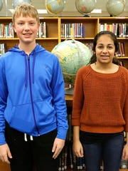 Ethan Hurley and Mohini Kumar of Woodworth Middle School