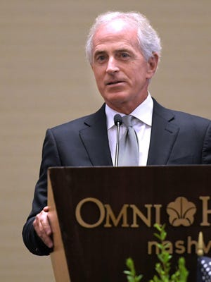 Sen. Bob Corker speaks at Operation Stand Down Tennessee's 7th Annual Heroes Breakfast on Aug. 18, 2017, at Omni Hotel in Nashville.