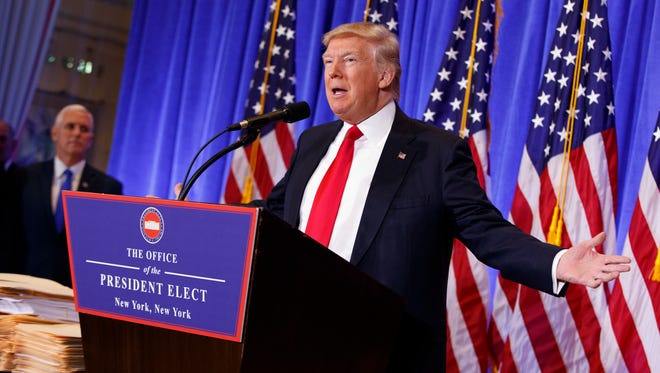 President-elect Donald Trump, speaking during a news conference in the lobby of Trump Tower on Jan. 11, 2017, does not make good fodder for comedians, a member of the profession says.