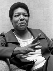 Novelist Maya Angelou is giving an interview in her