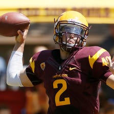 Arizona State quarterback Mike Bercovici  throws a pass during the scrimmage at Camp Tontozona on Aug. 17, 2013.