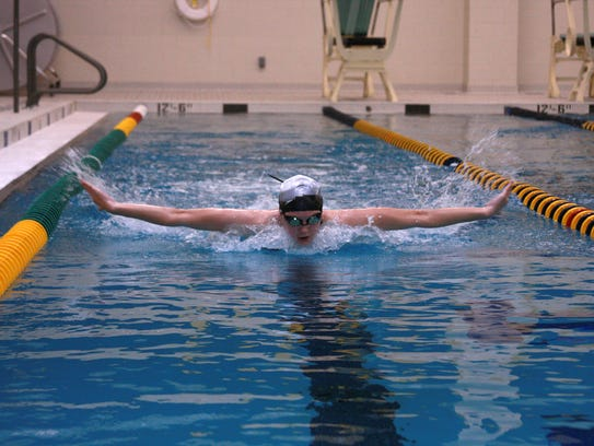 Senior Max Perrin from Climax-Scotts is swimming for