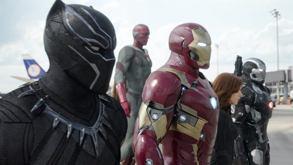 Black Panther (Chadwick Boseman), Vision (Paul Bettany),